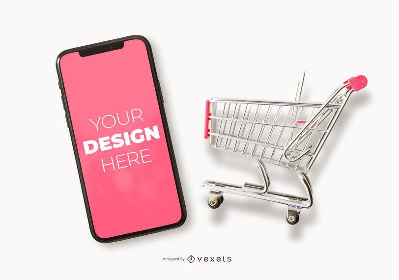 Maqueta de iphone de carrito de compras