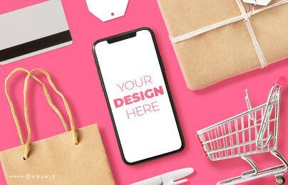 Composição de maquete de iphone de compras online