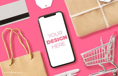 Composición de maqueta de iphone de compras en línea