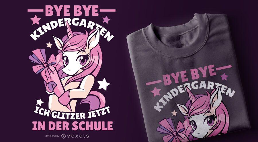 Diseño divertido de la camiseta del unicornio alemán