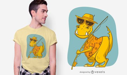 Diseño de camiseta de pesca de dinosaurios.
