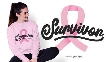 Design de t-shirt de sobrevivente de câncer de mama