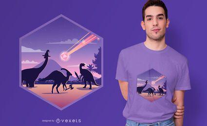 Design de camiseta para extinção de dinossauros