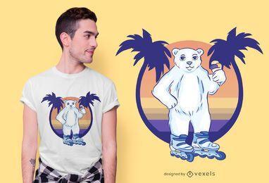 Diseño de camiseta de oso patinaje sobre ruedas.