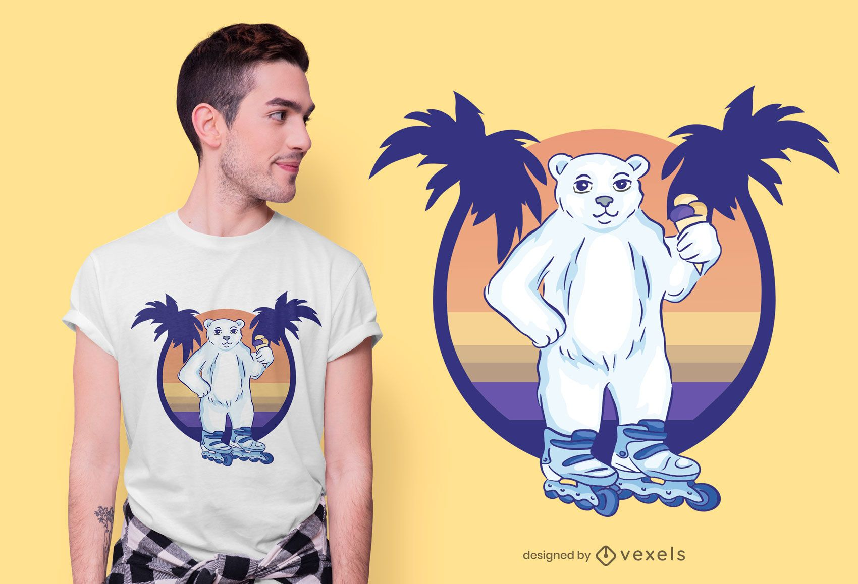 Roller skating bear t-shirt design