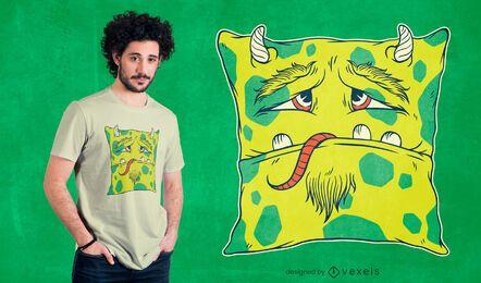 Design de camiseta com almofada monstro