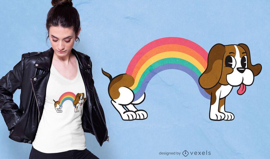 Projeto do t-shirt do cão do arco-íris