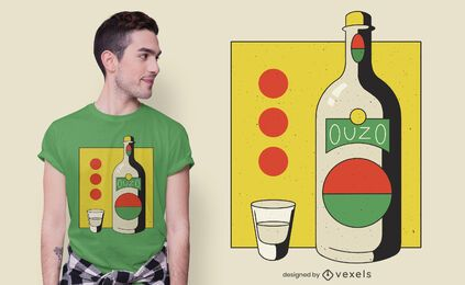 Ouzo bottle t-shirt design