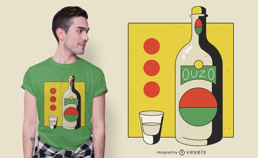 Diseño de camiseta de botella Ouzo