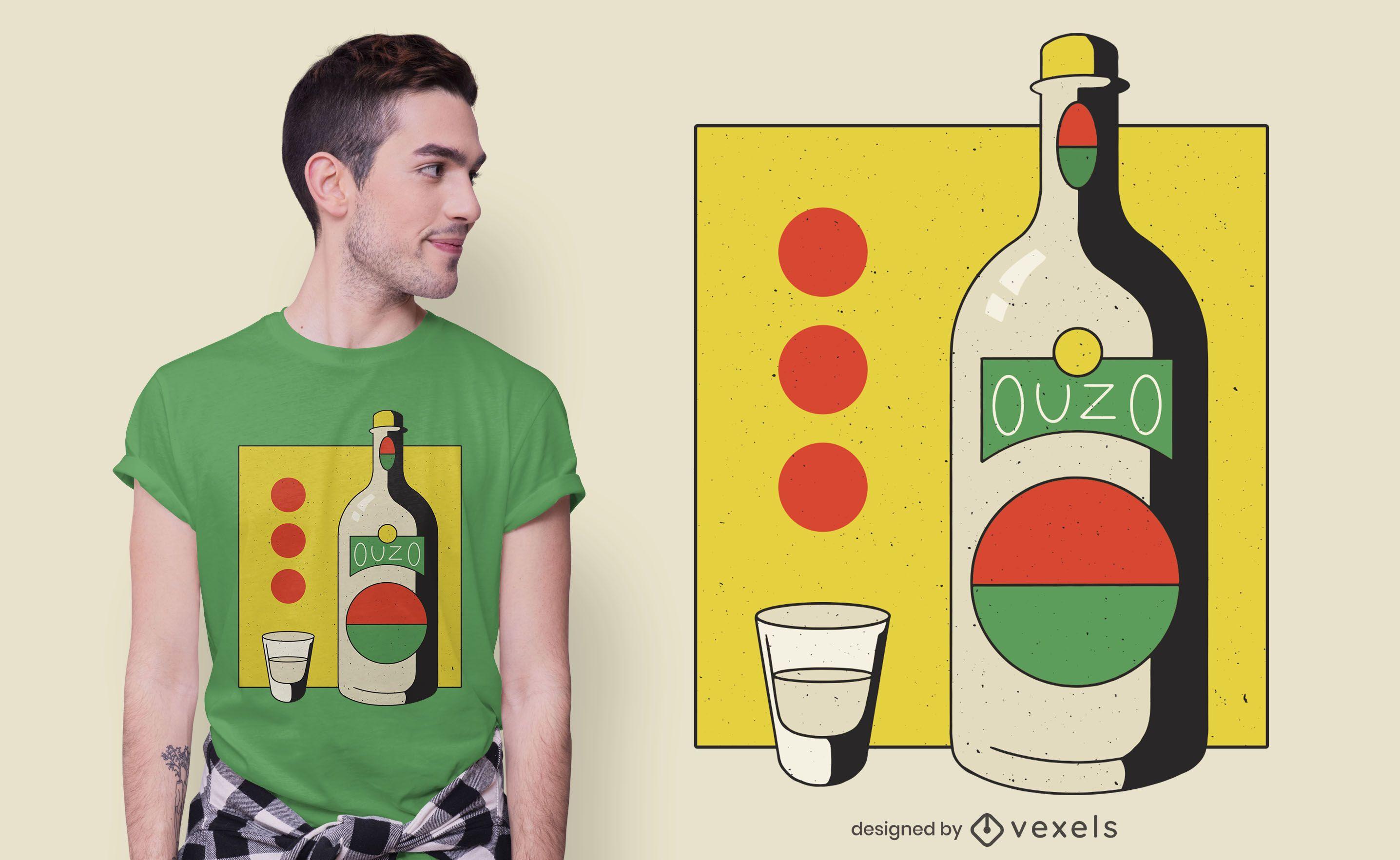 Ouzo bottle t-shirt design