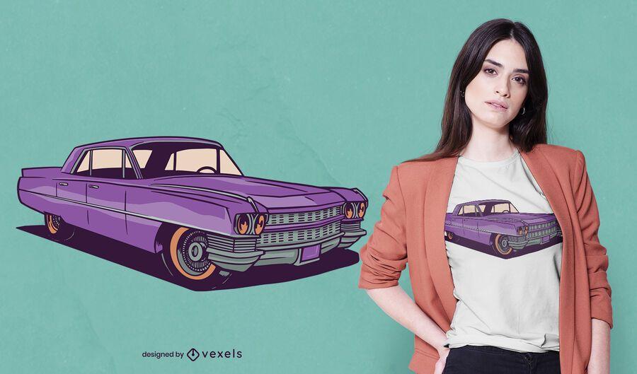 Diseño de camiseta de autos antiguos