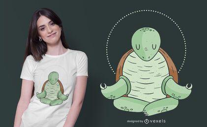 Diseño de camiseta de tortuga de yoga