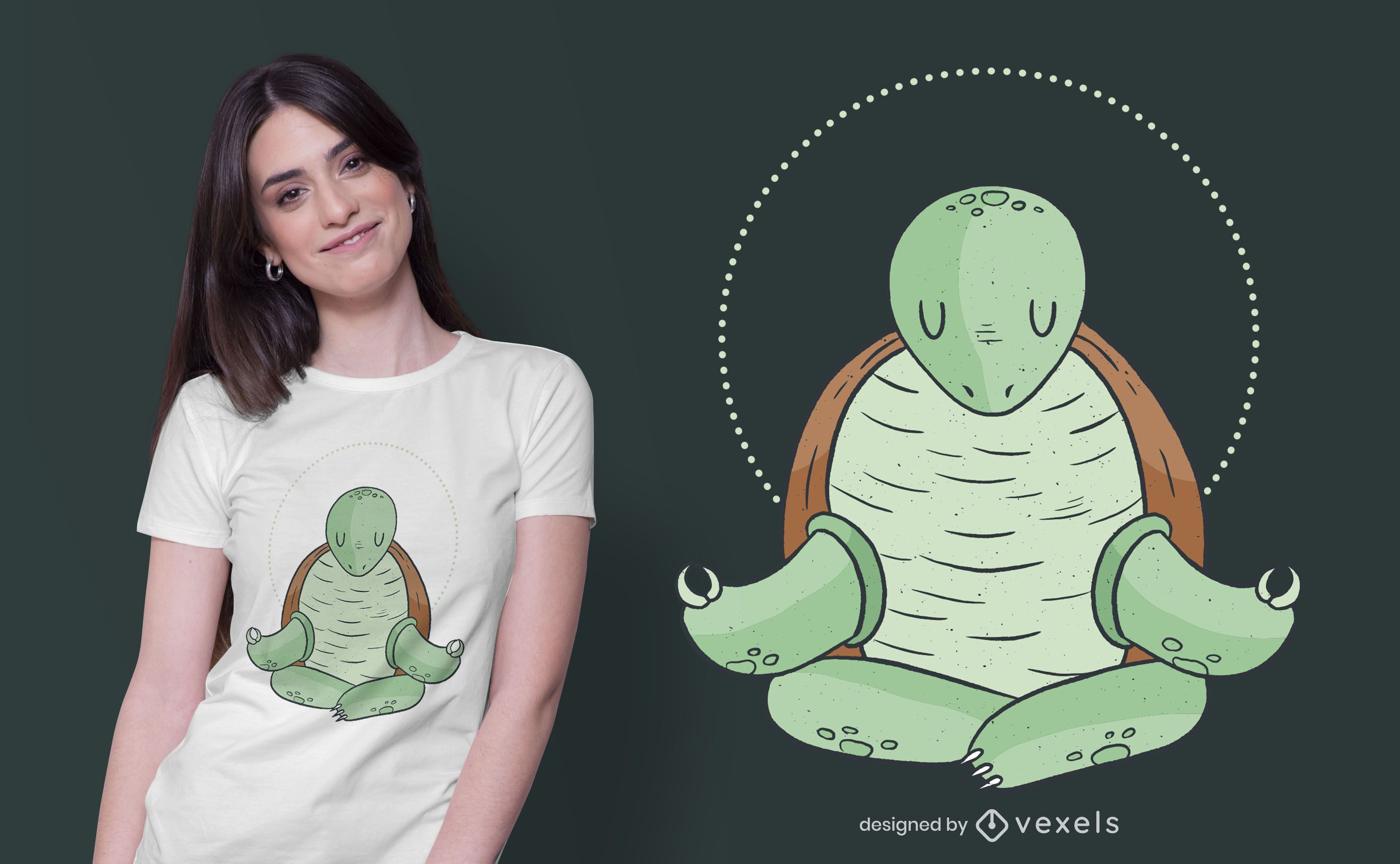 Diseño de camiseta de tortuga de yoga.