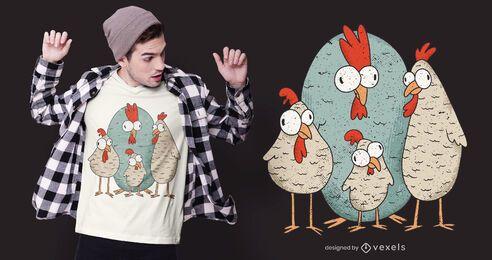 Diseño de camiseta de pollo loco