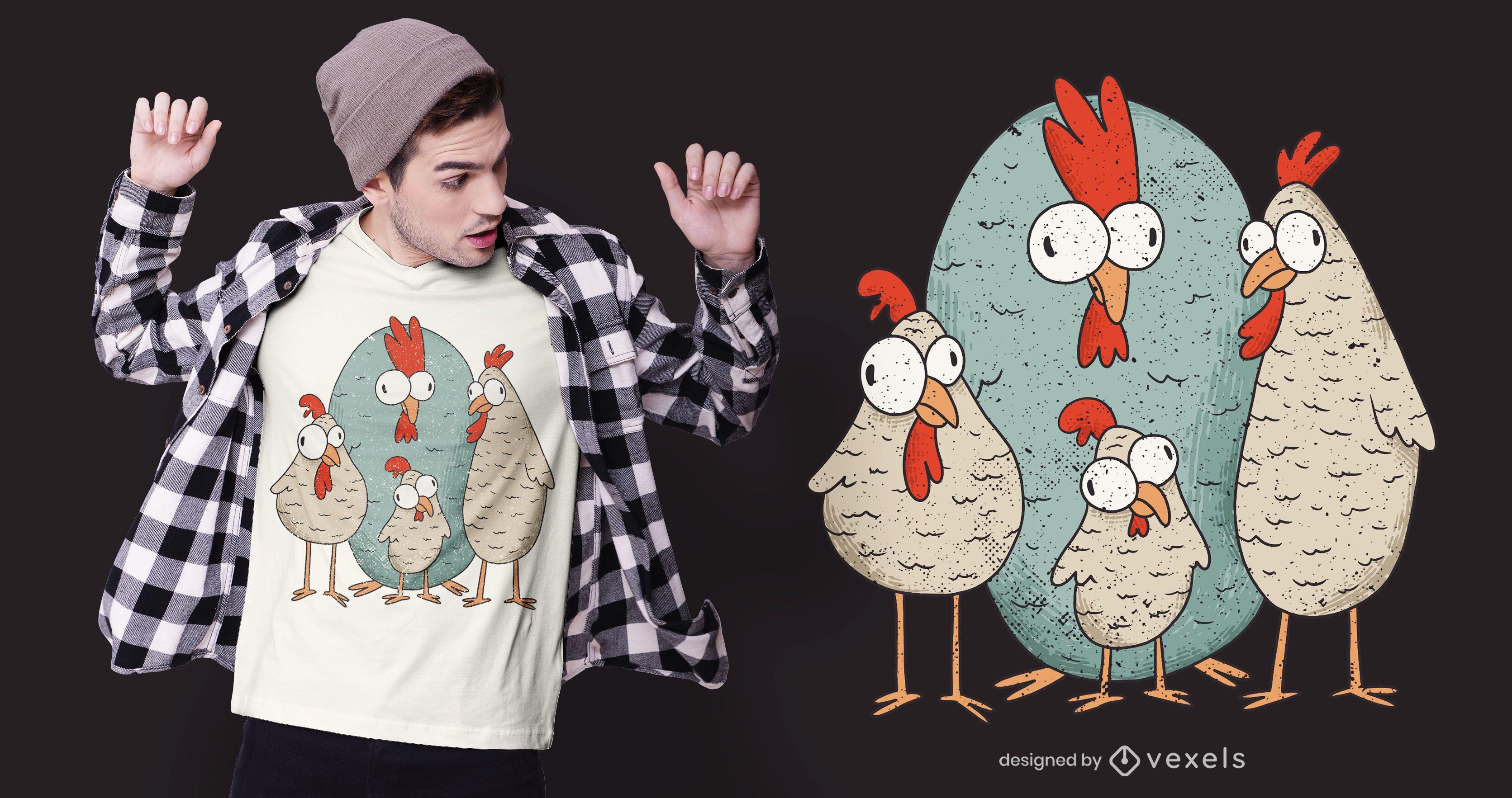 Design de camiseta de frango maluco