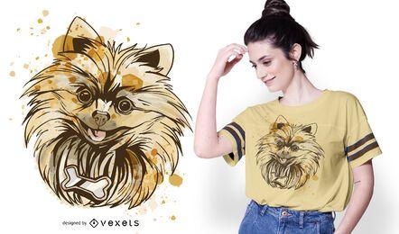 Diseño de camiseta de perro Pomerania