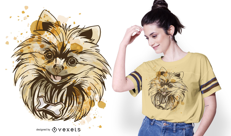 Design de camiseta para cachorro da Pomerânia