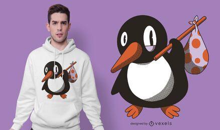 Diseño de camiseta de bolso de pingüino