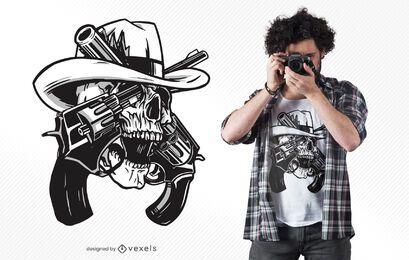 Diseño de camiseta de pistolas de calavera