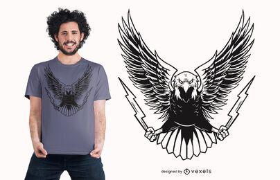 Diseño de camiseta de águila enojada