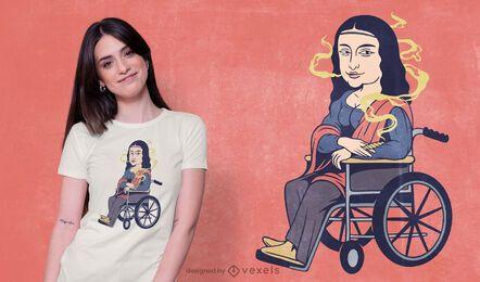 Diseño de camiseta mona lisa fumando