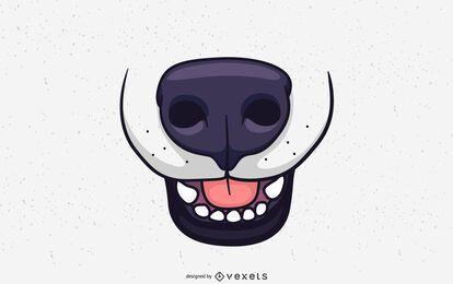 Design de ilustração de focinho de cachorro