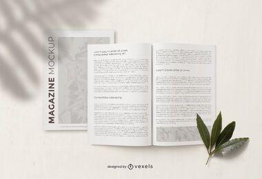 Composição de maquete de página de revista