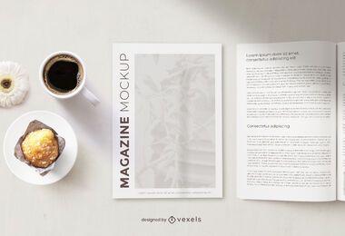 Composição de maquete de café da manhã revista