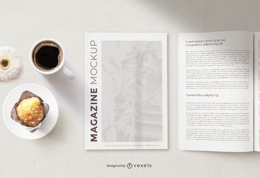 Magazine breakfast mockup composition