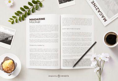 Composição de maquete de revista