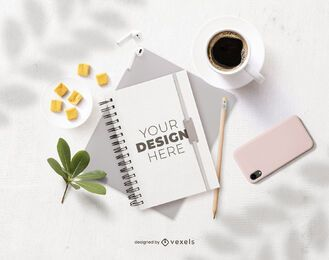 office notebook mockup composition
