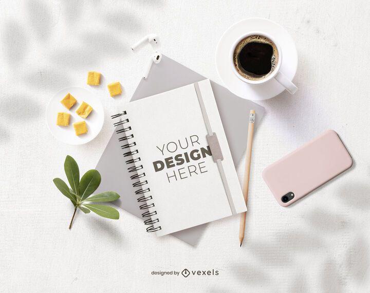 composición de maqueta de cuaderno de oficina