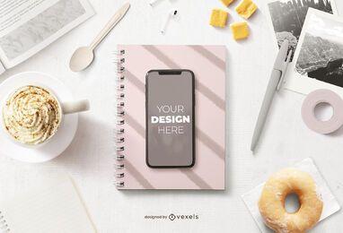 Composición de maqueta de desayuno de iphone