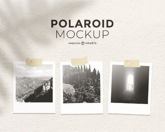 Polaroid set mockup design