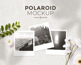 Composición de maqueta Polaroid
