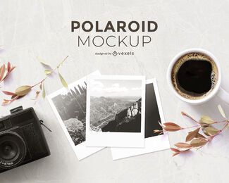Polaroid photography mockup composition