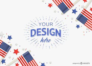 4 de julho composição de maquete de bandeira