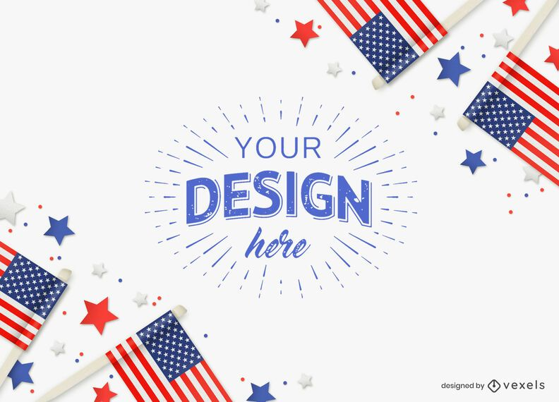 4th of July flag mockup composition