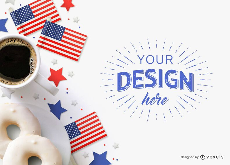 4th of July coffee mockup composition