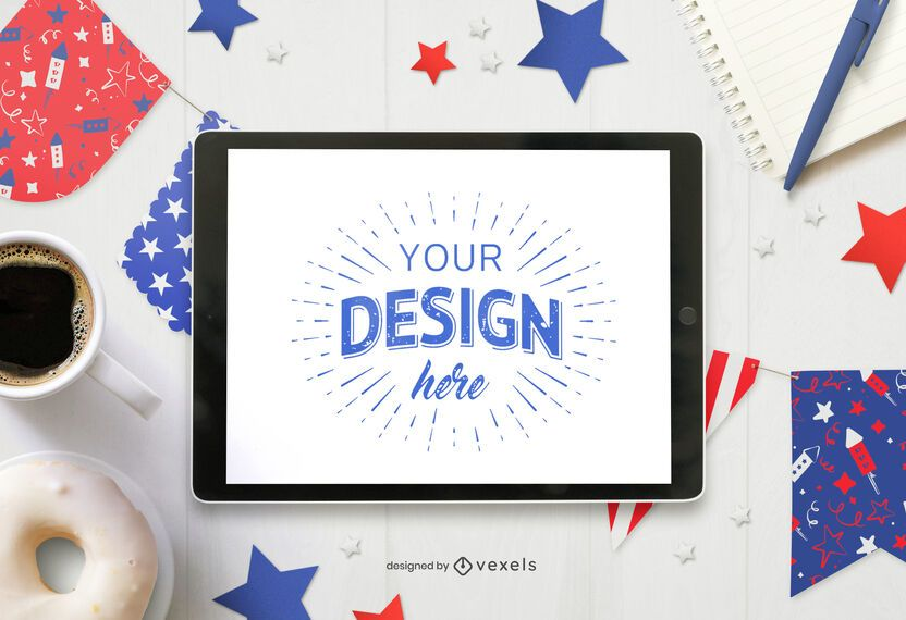 4th of July pennants ipad mockup