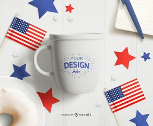 4th of July mug mockup