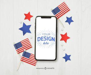 4 de julho maquete do iphone