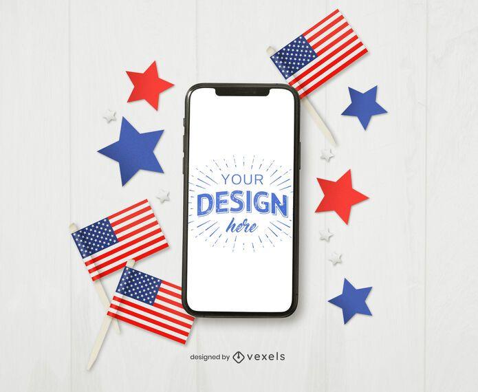 Maqueta de iphone del 4 de julio