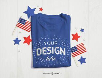 Maquete de camiseta de 4 de julho
