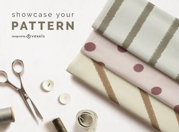 Composición de maqueta de rollos de tela