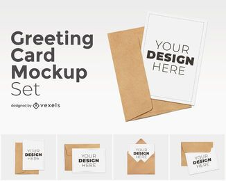 Conjunto de maquetas de tarjetas de felicitación