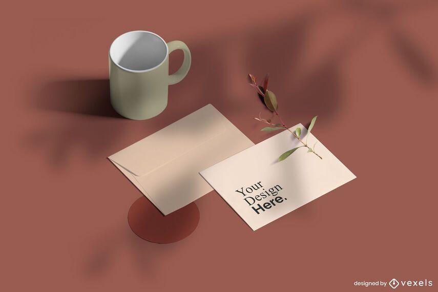 Isometric Card Invitation Mockup