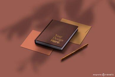 Conjunto de maquete de papelaria de notebook