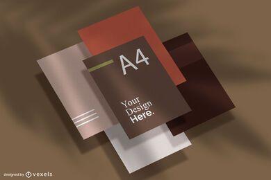 A4 Isometric Paper Mockup Set