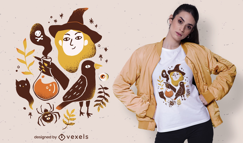 diseño de camiseta de elementos de halloween
